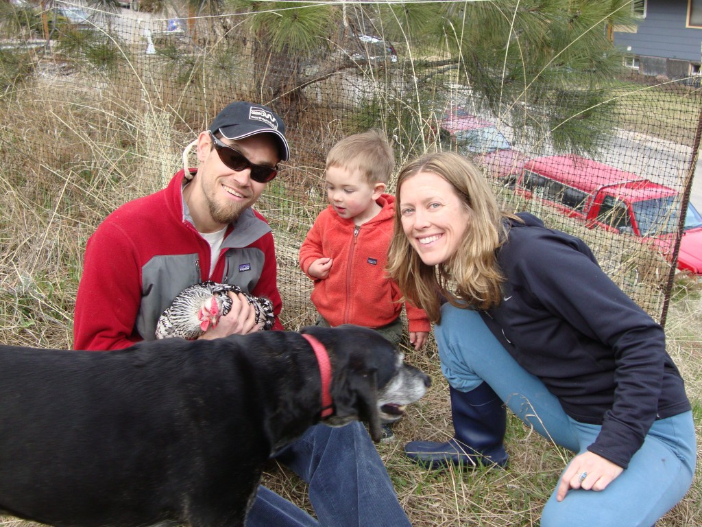 Chickens, dogs, and kiddos at the happy hillside commune - on the horizon line with bri and rob
