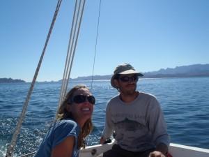 bri and rob sailing in Baja