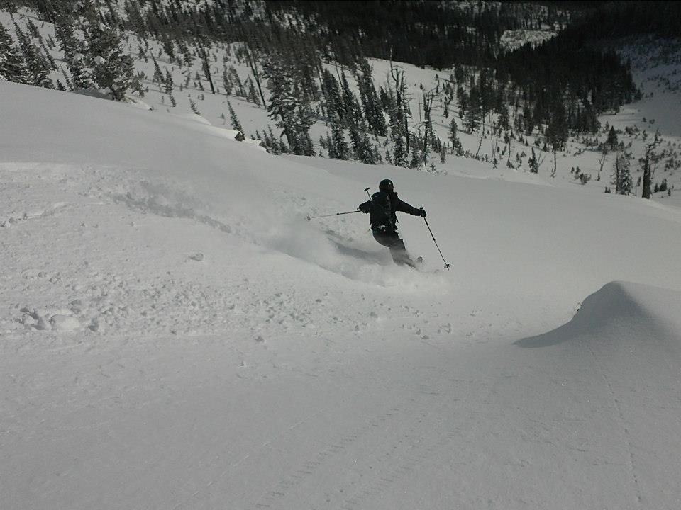 Sweet ski powder turns in the Mission Mountain backcountry