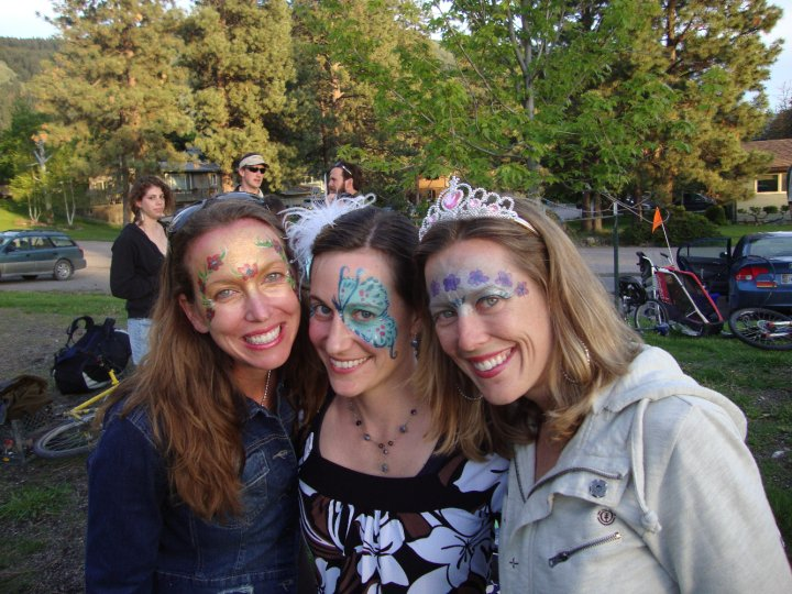 bri, cassidy and mamie after mamie painted our faces at the park near our house - on the horizon line