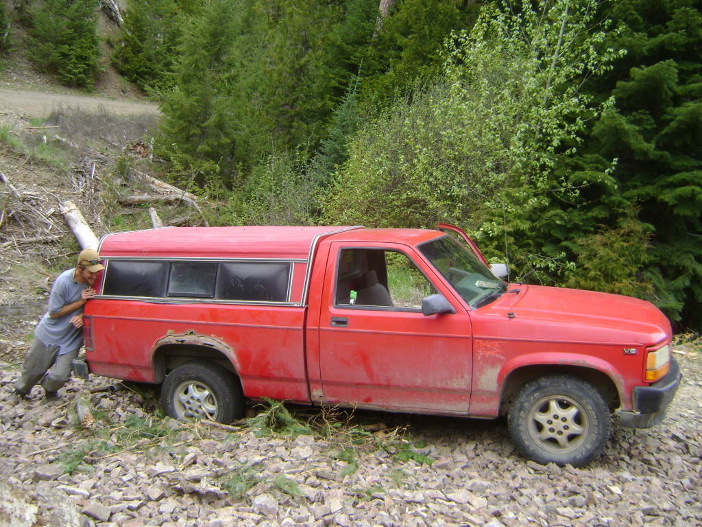 big red - the red rider truck - rob roberts and trout unlimited - pushing through the forest