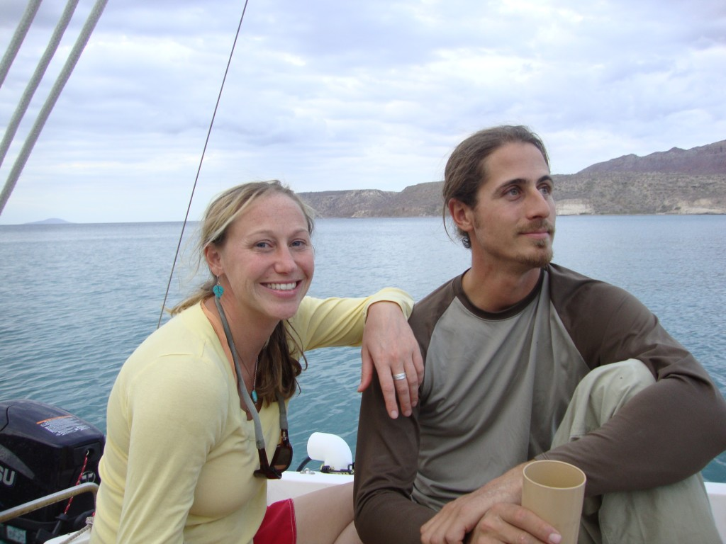 katie and mark on boat