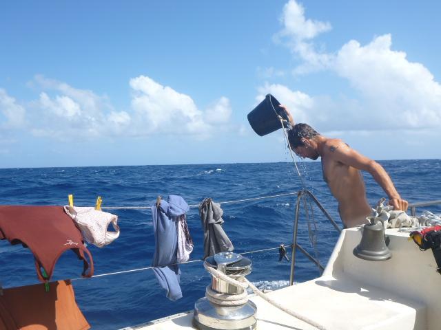 BUCKET SHOWER on the horizon line rob roberts sailing on the horizon line