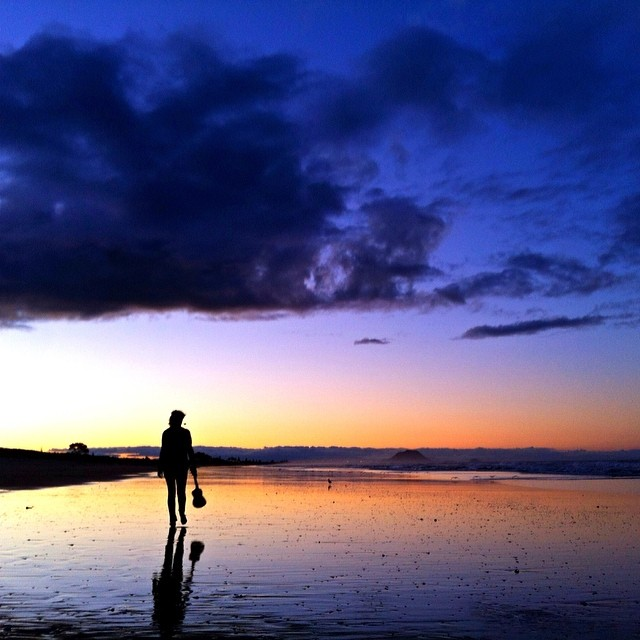 Sunset photo taken by Rachel Stewart at Papamoa Beach.
