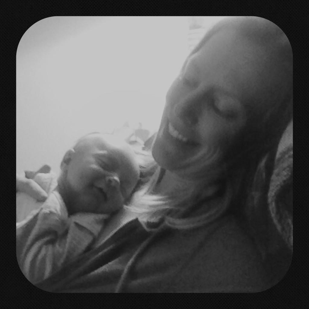 bri and talon in black and white smiling