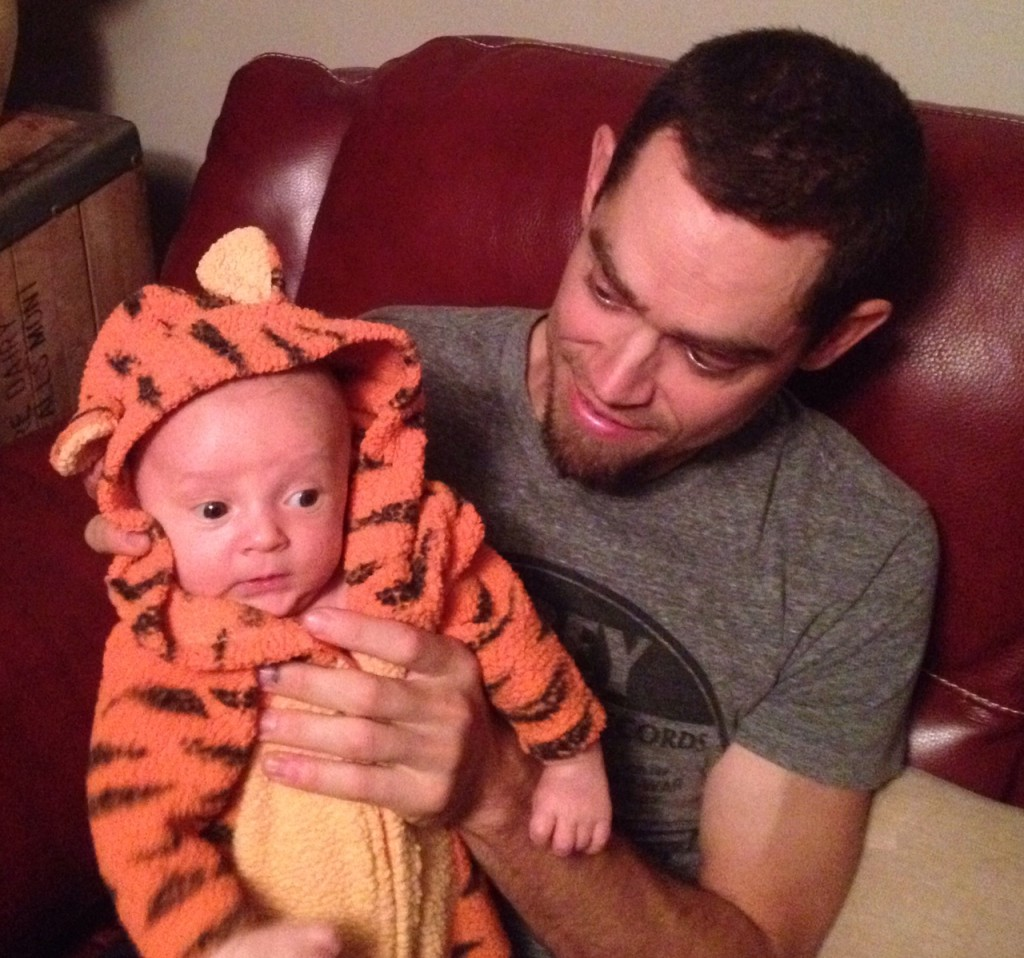 rob and talon in baby tiger costume