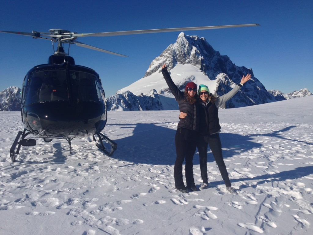 My sister, Cassidy, high on life after a helicopter flight to a glacier on New Zealand's South Island.