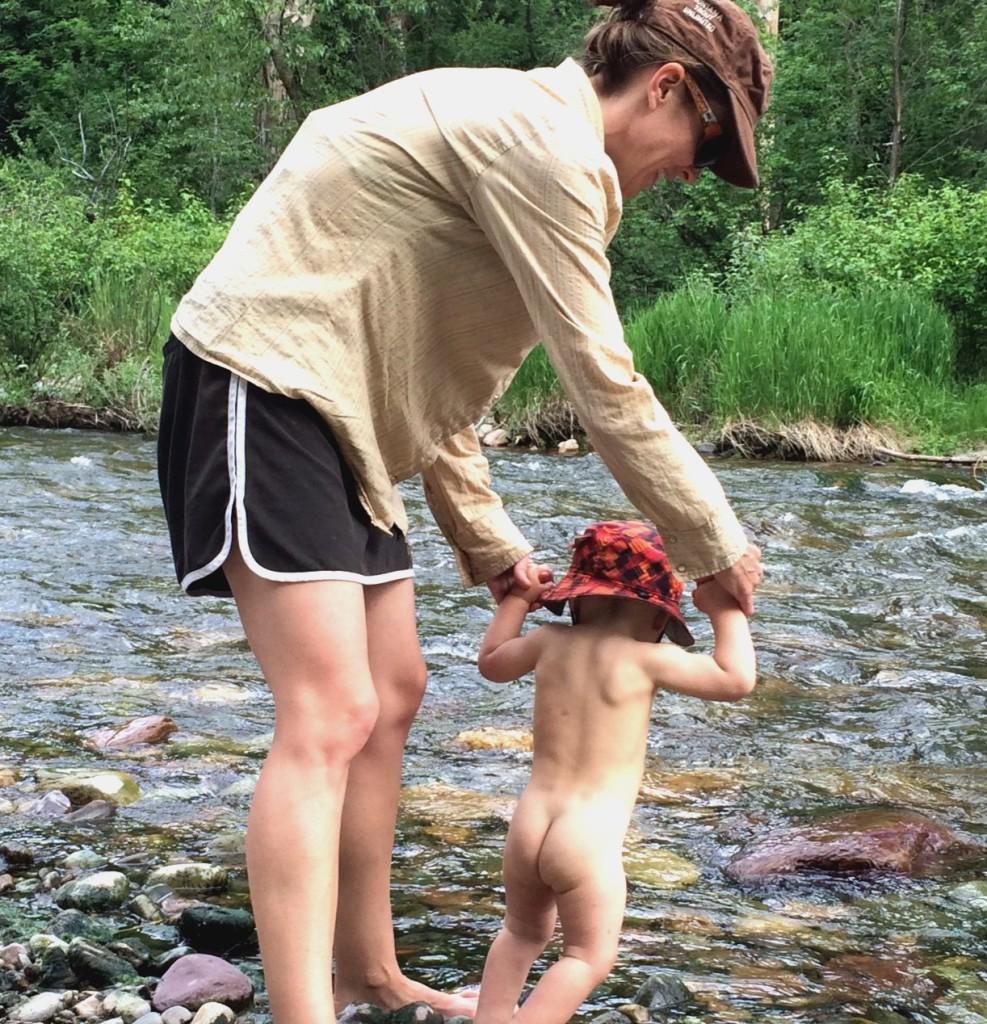 talon walking into the creek