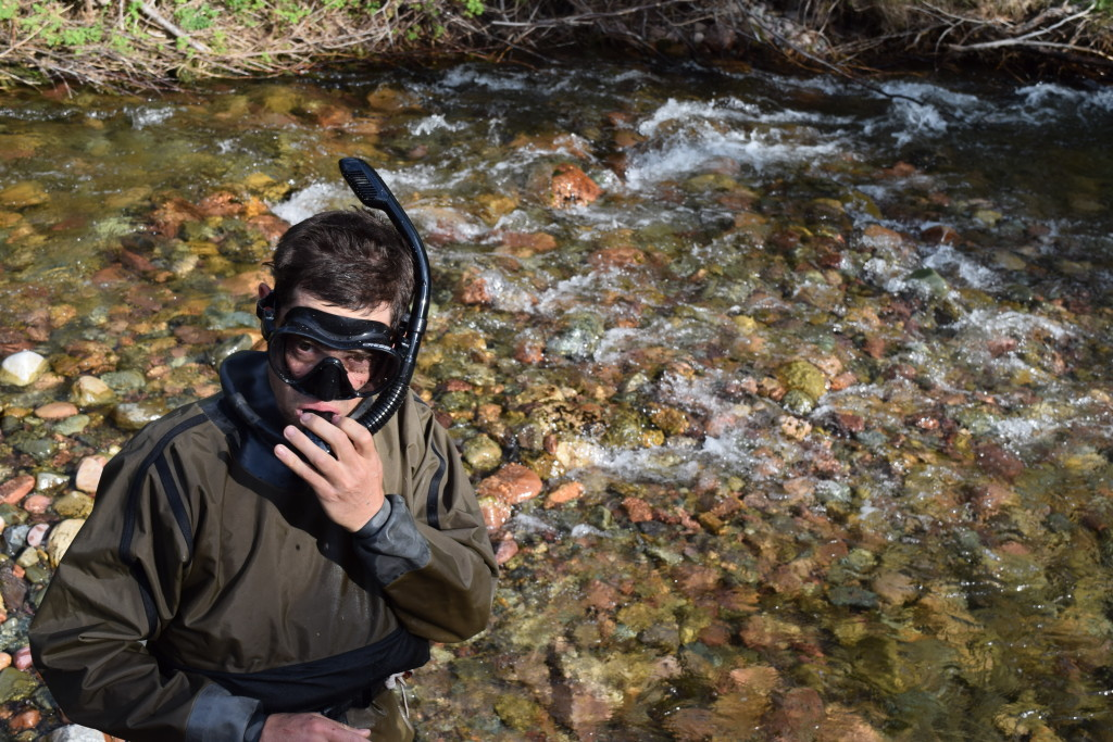 rob roberts prepping to stare down some fish under a montana river