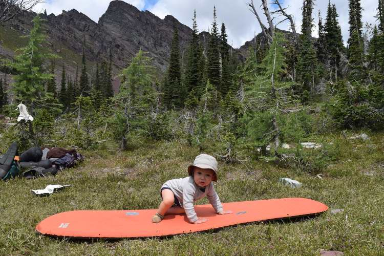 Practicing pad surfing in the Bob Marshall Wilderness.