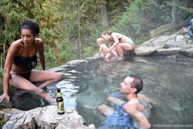Our Philly-based visitors are psyched on the natural outdoor hot tub!