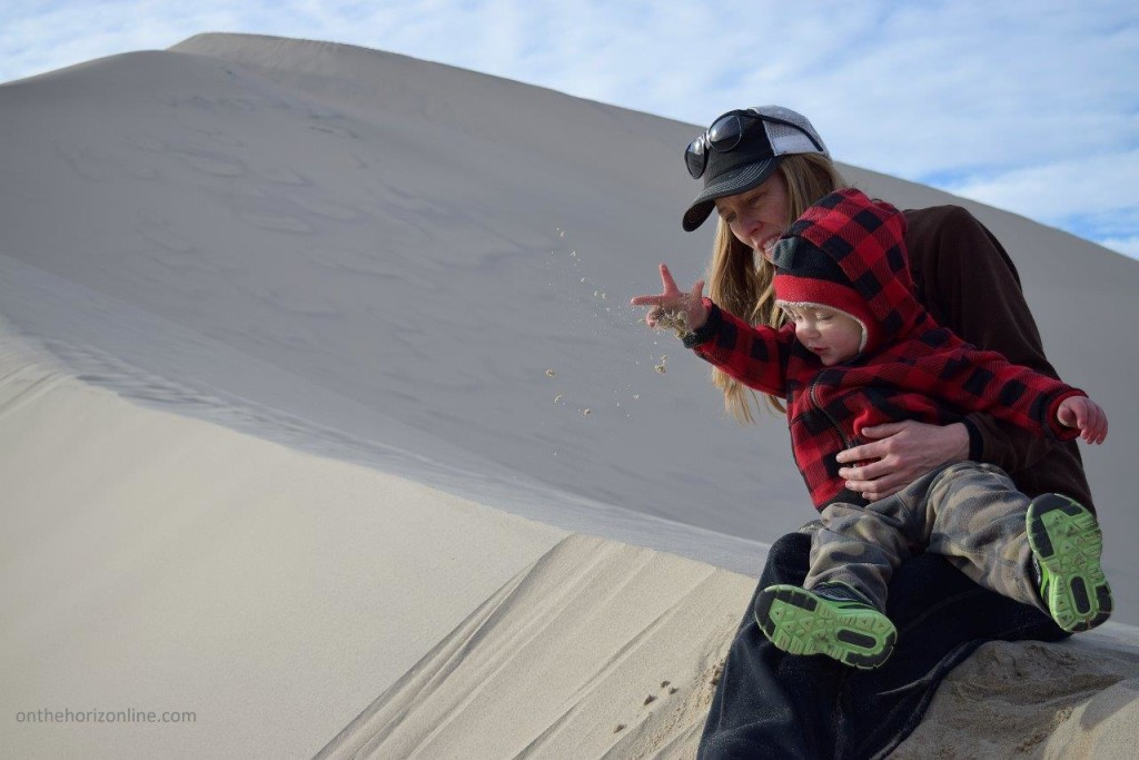 Throwing sand down the 700-foot-tall Eureka Dunes in Death Valley National Park.