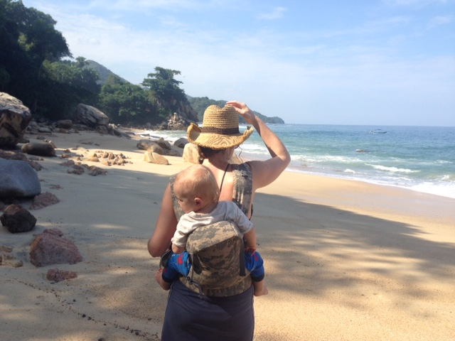 Aunt Cassidy carried Talon all over the beaches in Mexico.